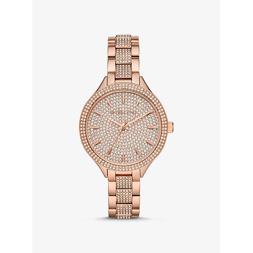 MICHAEL KORS Slim Runway Pav Rose Gold-Tone Watch