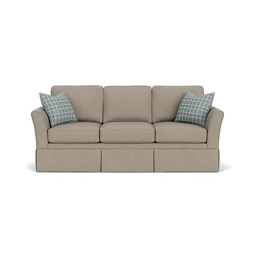Flexsteel - Fiona Sofa in Silver Nickel Fabric and Turquoise Mint Pillows