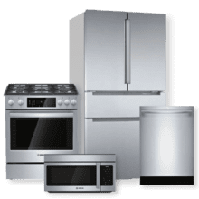 "BOSCH 36"" Easy Clean French Door Bottom Mount Refrigerator & Dual Fuel Slide-in Range Package"
