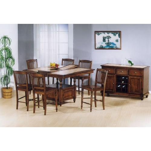 Gallery - Tile Top Square Pub Extension Table w/ Butterfly Leaf & Storage and Hardwood Barstools
