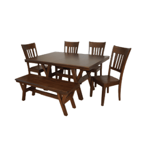 Rectangular Extension Solid Wood  Table with Cable Slides, Butterfly Leaf  and Solid Wood Chairs & Bench