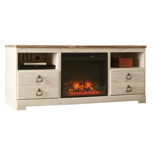 Willowton Whitewash Large Fireplace TV Stand