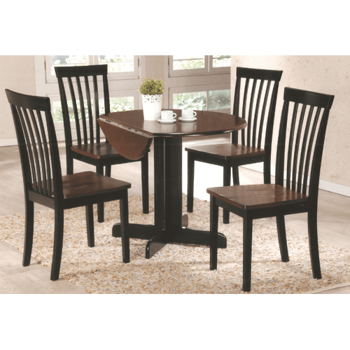 Gallery - Two Tone Round Hardwood / Veneer  Table with Drop Leaf and Solid Wood