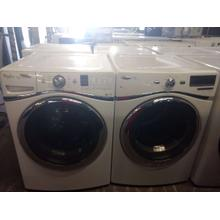 Refurbished White Whirlpool Duet STEAM White Front Load Washer Dryer Set. Please call store if you would like additional pictures. This set carries our 6 month warranty, MANUFACTURER WARRANTY AND REBATES ARE NOT VALID (Sold only as a set)