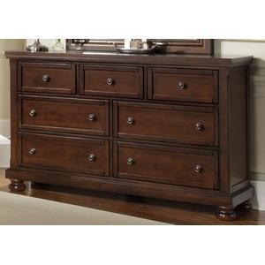 Dark Cherry Finish 7 Drawer Dresser