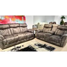 Montaquila Smoke Full Power Reclining Sofa & Loveseat
