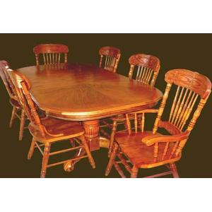 Sunburst Oak Veneer Pedestal Table  and Hardwood Chairs