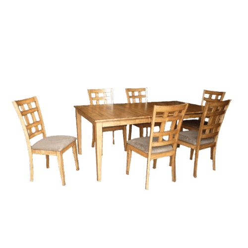 Gallery - Rectangular Extension Solid Wood  Table with Butterfly Leaf and Cushion  Chairs