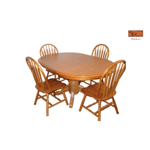 Laminate Top Oval Extension Table with  Cable Slides and Solid Oak Chairs