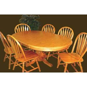 Single Pedestal Laminate Top Table w/ 2 Leaves, Side Chairs