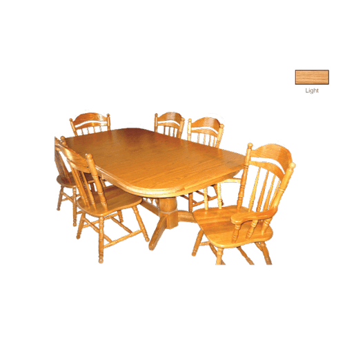 Gallery - Laminate Top Rectangular Wood Edge Ext.  Table With Double Pedestal & 3 Leafs