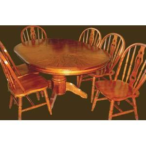 Sunburst Oak Veneer Pedestal Table  and Hardwood Chairs