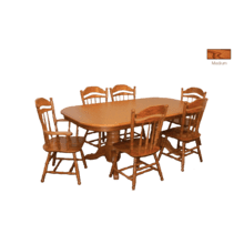 Laminate Top Rectangular Extension  Table with Cable Slides and  Solid Oak Chairs