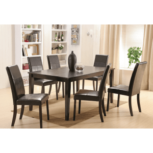 Model Pettega (7pc set)  Rectangular Hardwood / Veneer Table  and Upholstered Chairs