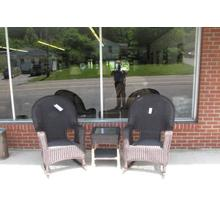 3pc rocker wicker set with cushions