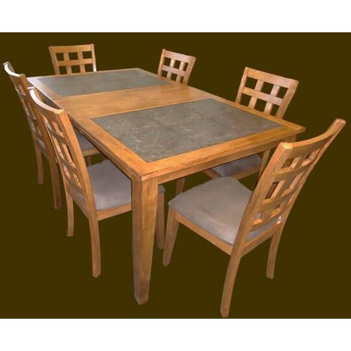 Gallery - Slate Tile Rectangular Extension Table  with Butterfly Leaf and Cushion Chairs