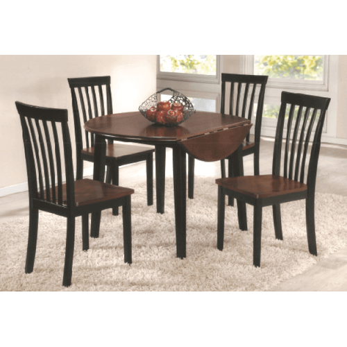 Gallery - Two Tone Round Solid Wood / Veneer  Table with Drop Leaf