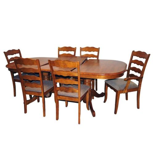 Oval Solid Wood Extension Table w/ Butterfly Leaf