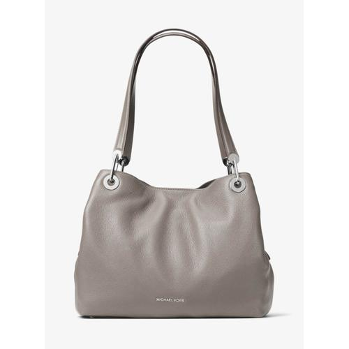 Michael Kors Raven Large Shoulder Tote - Pearl Grey with Silver - 30H6SRXE3L-081