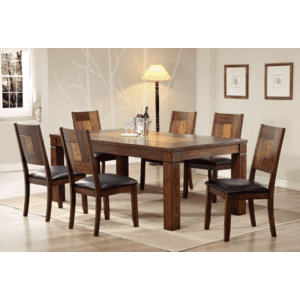 Gallery - Walnut Veneer Solid Hardwood Table  with Butterfly Leaf and Cushion Chair