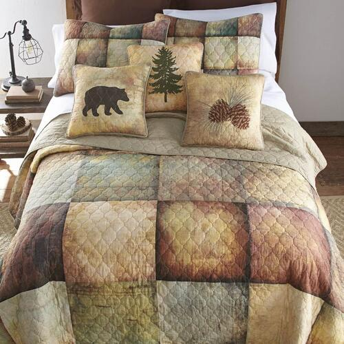 Wood Patch King Quilt Set