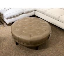 Round Leather Ottoman with Nailhead Trim - Customizable