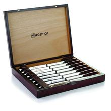 Wusthof Stainless Steel Steak Knife 8-Piece Set in Rosewood Colored Chest