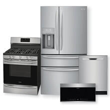 FRIGIDAIRE GALLERY 21.8 Cu. Ft. Counter-Depth French Door Refrigerator & 30'' Freestanding Gas Range with Air Fry Package
