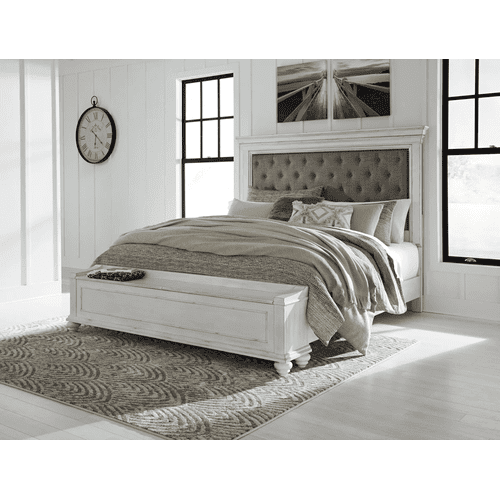 Kanwyn - Whitewash - 7 Pc. - Dresser, Mirror, Chest, Nightstand & King Upholstered Bed with Storage