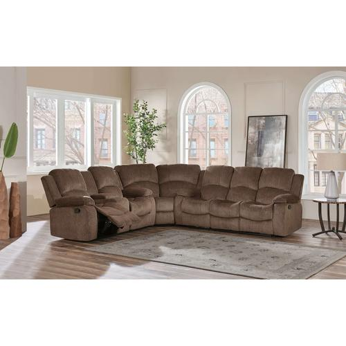 Subaru Coffee Fabric 3 Piece Sectional