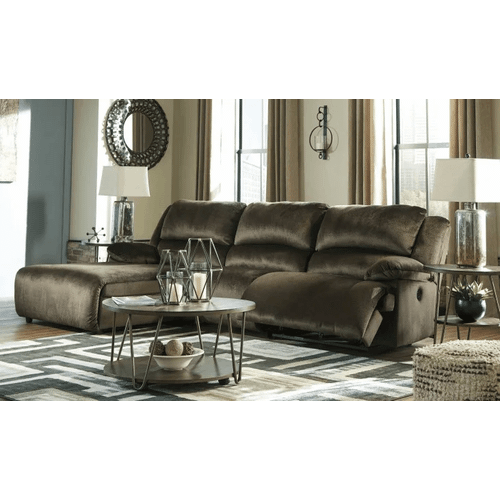 Clonmel - Chocolate - 1 Recliner Sectional with Pressback Chaise