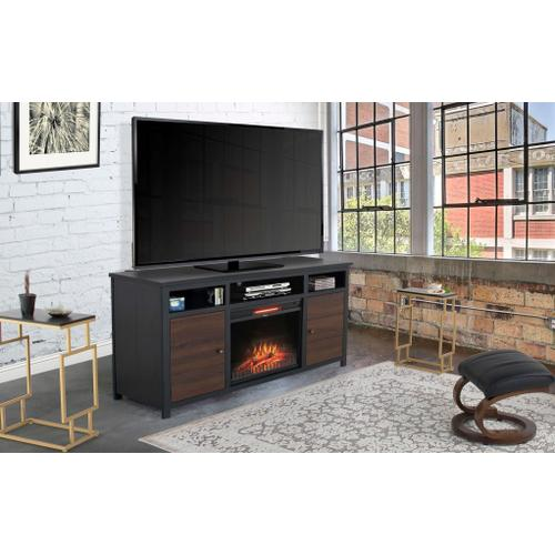 """See Details - Toledo 65"""" TV Stand with Fireplace - Black & Brown"""