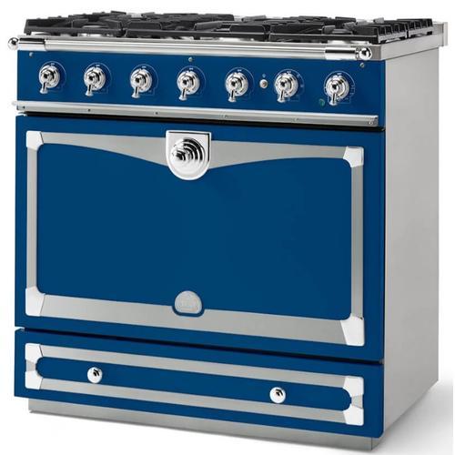 Lacornue Cornufe - Royal Blue Albertine 90 with Polished Chrome Accents