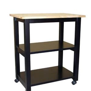 Whitewood Industries - Microwave Cart in Black/Natural
