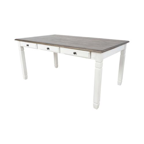 Prairie Point 6 Drawer Rectangular Dining Table in Cottage White Finish