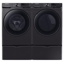 SAMSUNG Super Speed 5.0 Cu.Ft. Front Load Washer & 7.5 Cu.Ft. Electric Dryer with Pedestals - Black Stainless