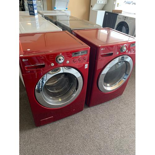 Product Image - Refurbished Red Electric LG Washer Dryer Set. Please call store if you would like additional pictures. This set carries our 6 month warranty, MANUFACTURER WARRANTY AND REBATES ARE NOT VALID (Sold only as a set)