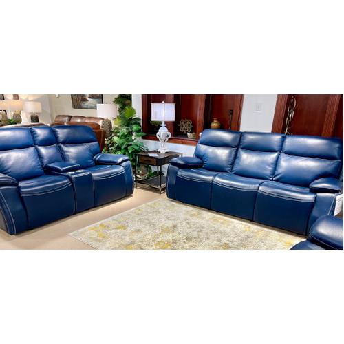 Micah Marco Navy Power Leather Reclining Sofa & Loveseat