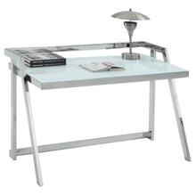 Office Desk - White Starphire Glass, Shiny Stainless Steel