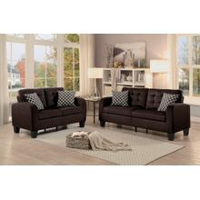 View Product - Sinclair- Chocolate Sofa and Loveseat