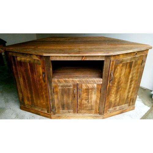 Barn Board Corner TV Console