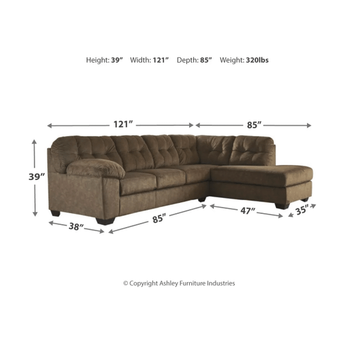 Accrington - Earth - 2-Piece Sectional with Right Facing Chaise