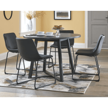 Centiar - Gray/Black - 5 Pc. - Round Table & 4 Blacl Side Chairs