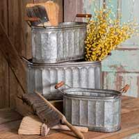 Set of 3 corrugated oval pails with handle
