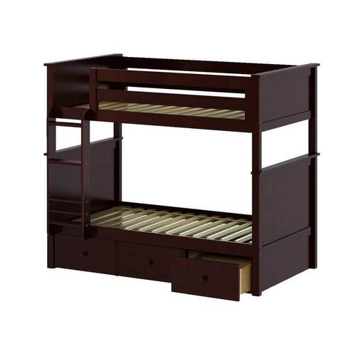 Jackpot Bristol Twin/Twin Bunk   3 Drawer Storage In Cherry Finish