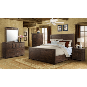 9Pc. Jax Rustic Queen Storage Bedroom Group