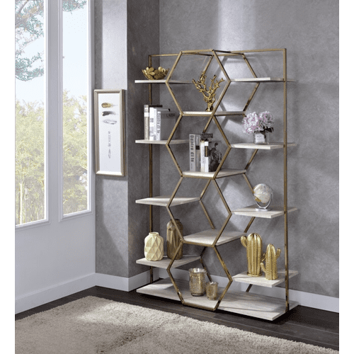 Champagne & Hexagonal Etagere or Display Rack By Homelegance, HM18041