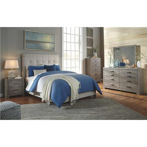 Culverbach - Queen Upholstered Bed (Dolante), Dresser, Mirror, & 1 x Nightsand