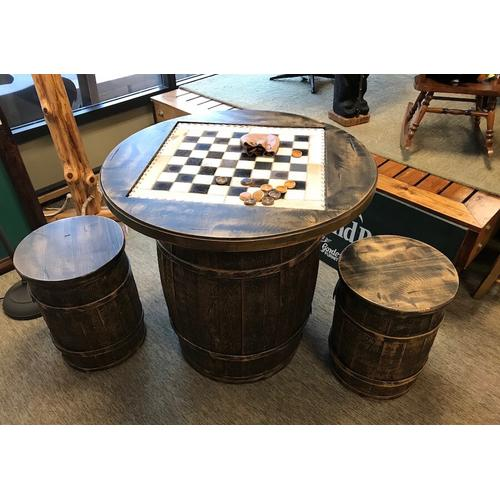 """Pure Country barrell checker board with stools. 32"""" round. Last & only one available! $999."""