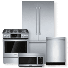"BOSCH 36"" Stainless Steel Counter-Depth Refrigerator & Dual Fuel Slide-In Range Package"